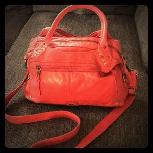 The Sak • coral/red leather purse